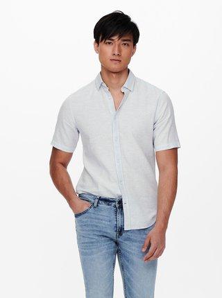 Svetlomodrá košeľa s krátkym rukávom ONLY & SONS