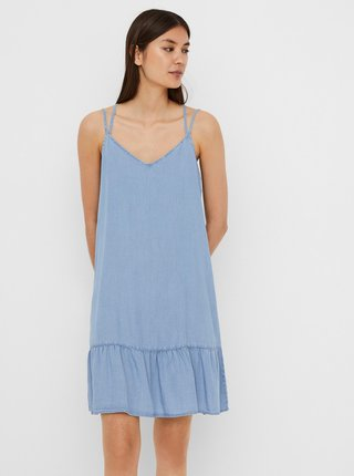Světle modré džínové šaty na ramínka VERO MODA Viviana