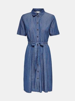 Modré rifľové košilové šaty Jacqueline de Yong Bianka