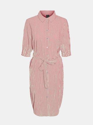 Bílo-růžové pruhované košilové šaty VERO MODA Annabelle