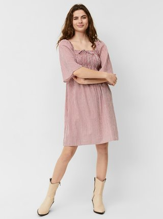 Bílo-růžové pruhované šaty VERO MODA Annabelle