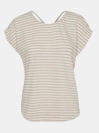 Krémovo-béžové pruhované tričko VERO MODA Alona