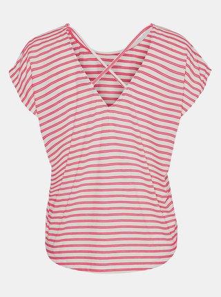 Krémovo-červené pruhované tričko VERO MODA Alona