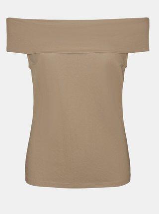 Béžový top s odhalenými rameny VERO MODA Amaya