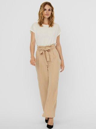 Béžové voľné kalhoty so zaväzovaním VERO MODA Viviana
