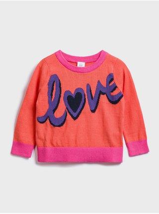 Červený holčičí dětský svetr graphic crewneck sweater GAP
