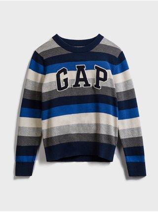 Modrý klučičí dětský svetr GAP Logo stripe crewneck sweater