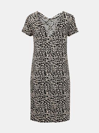 Černo-krémové vzorované šaty s pásky na zádech ONLY Bera