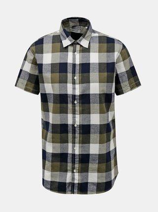 Kaki kockovaná košeľa Jack & Jones Eddie