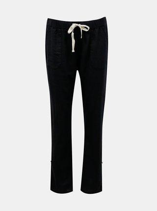 Tmavomodré ľanové nohavice s vreckami Roxy