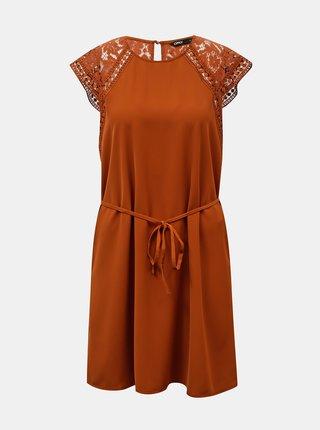Hnedé šaty s krajkovými detailmi ONLY
