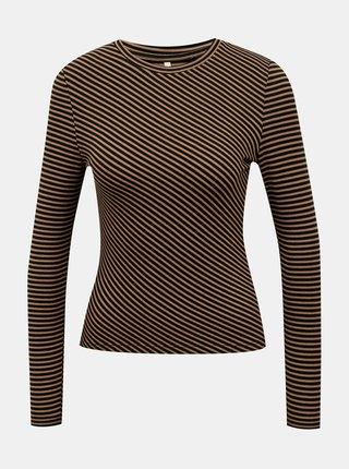 Čierno-hnedé dámske pruhované tričko ONLY-Zigga