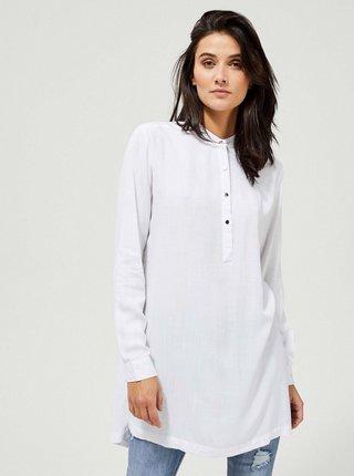 Bílá dámská dlouhá košile s rozparky Moodo