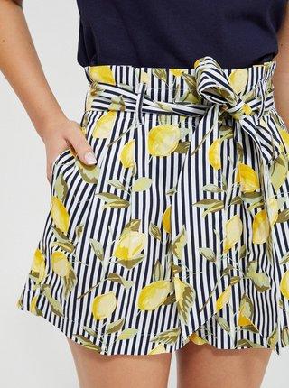 Žluto-modré dámské pruhované kraťasy se zavazováním Moodo