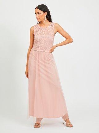 Růžové maxišaty s krajkovým topem VILA Lynnea