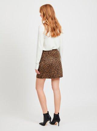 Hnedá sukňa s leopardím vzorom VILA Junila