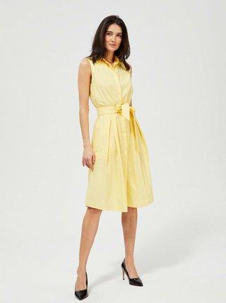 Žluté košilové šaty se zavazováním Moodo