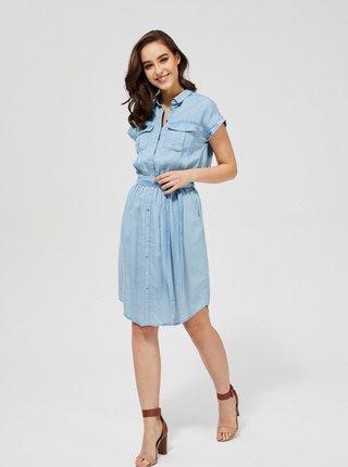 Modré košeľové rifľové šaty so zaväzovaním Moodo