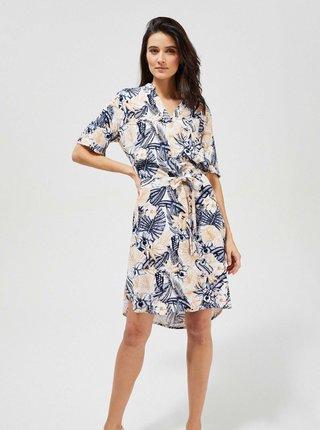 Modro-krémové vzorované šaty se zavazováním Moodo