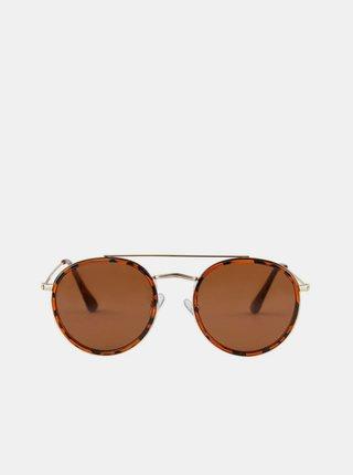 Hnědé vzorované sluneční brýle Pieces Lulla