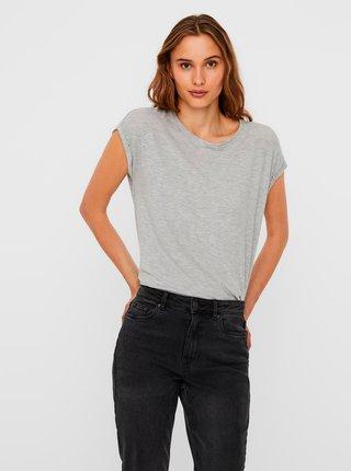 Šedé volné žíhané basic tričko s krátkým rukávem AWARE by VERO MODA Ava