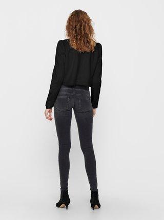 Čierna bunda v semišovej úprave ONLY