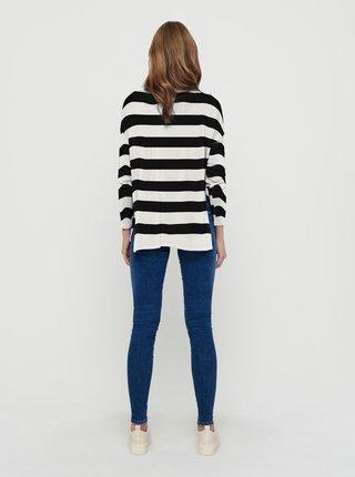 Bílo-černý pruhovaný svetr s rozparky ONLY Amalia
