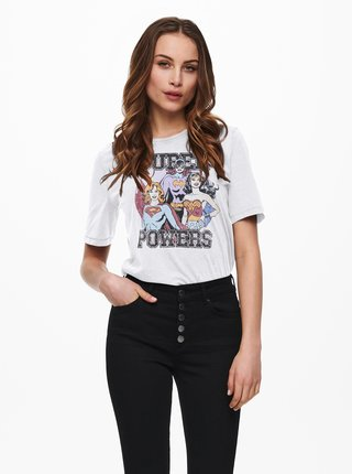 Bílé tričko s potiskem ONLY Justice