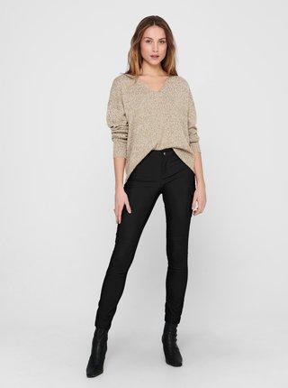 Černé koženkové skinny fit kalhoty ONLY-Missouri