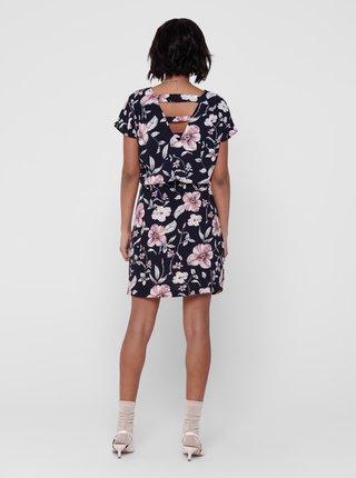 Tmavomodré kvetované šaty so zaväzovaním ONLY Mariana