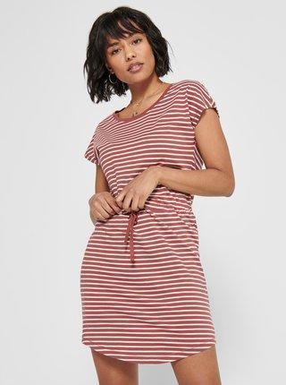 Cihlové pruhované šaty ONLY-May