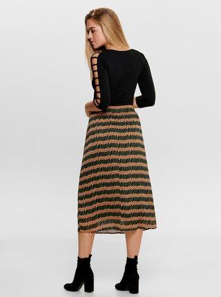 Oranžovo-zelená vzorovaná midi sukně ONLY Sheri