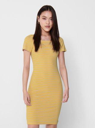 Žlté pruhované basic šaty ONLY Fiona