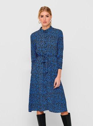 Modré vzorované košeľové midišaty Jacqueline de Yong  Piper