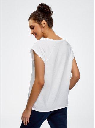 Tričko s raglánovým rukávem s nápisem na prsou OODJI