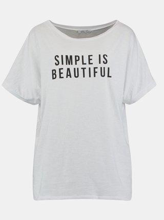 Biele voľné tričko s potlačou Hailys