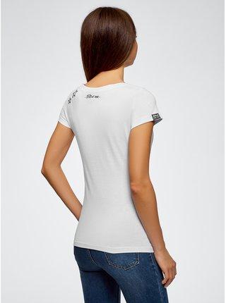 Tričko bavlněné s nášivkami OODJI