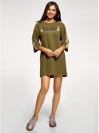 Šaty rovného střihu s nápisem na prsou OODJI