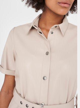 Béžové koženkové košilové šaty Noisy May-Dust