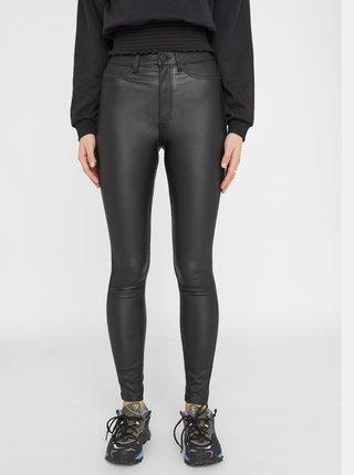 Čierne koženkové skinny fit nohavice Noisy May Callie