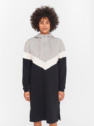 Černo-šedé mikinové šaty Noisy May Melina