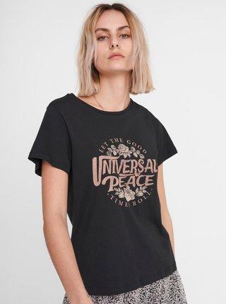 Černé tričko s potiskem Noisy May Nate