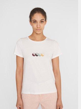 Bílé tričko s potiskem Noisy May nate