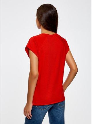 Tričko s raglánovým rukávom s nápisom na prsiach OODJI