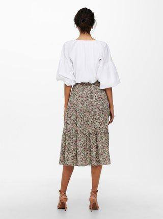 Kaki kvetovaná midi sukňa ONLY Kendall