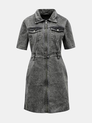 Šedé rifľové šaty s opaskom Trendyol