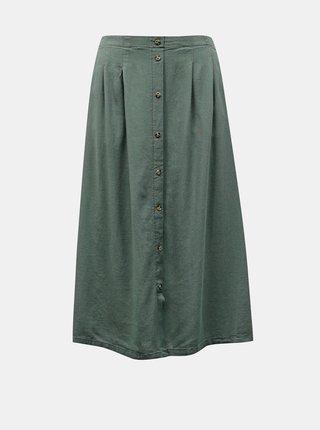 Zelená lněná midi sukně VERO MODA Milo
