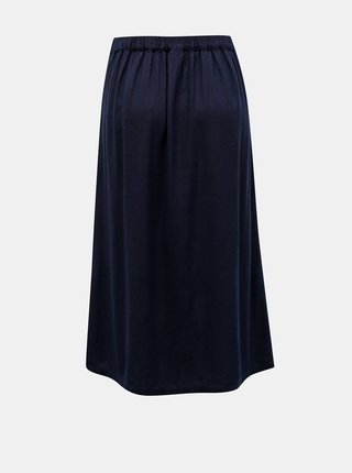 Tmavomodrá ľanová midi sukňa VERO MODA Milo