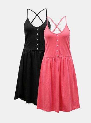 Sada dvou šatů v černé a růžové barvě VERO MODA Rebecca
