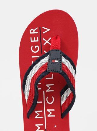 Tommy Hilfiger červené pánske žabky Corporate Print Beach Sandal